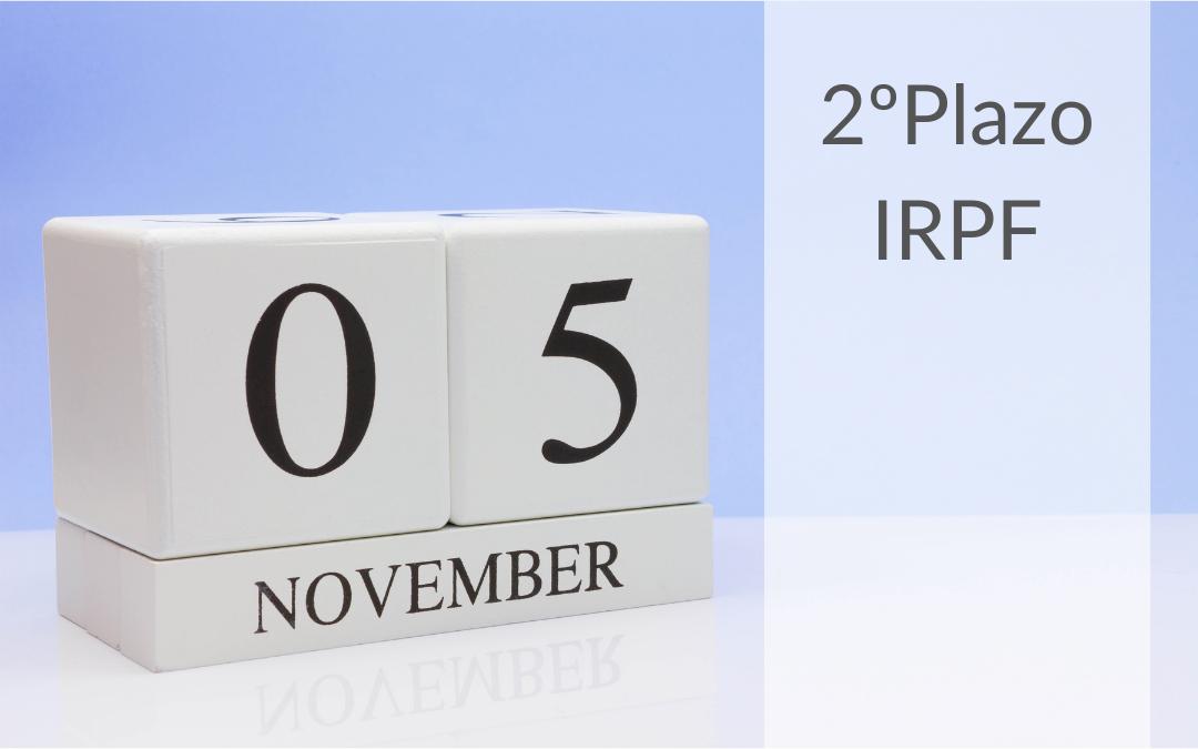 Ingreso del 2º plazo de la declaración anual del IRPF. Noviembre 2020